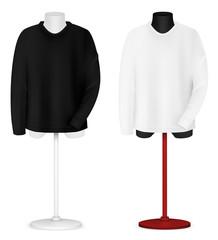 Plain long sleeve shirt on mannequin torso template
