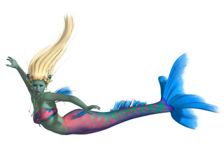 Deurstickers Zeemeermin Mermaid on White