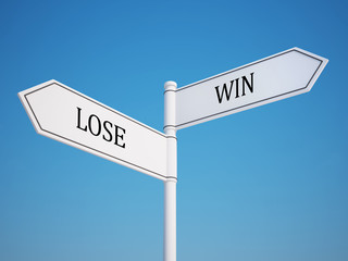 Lose and Win Signpost with Clipping Path