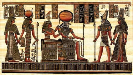 Scene from afterlife ceremony painted at papyrus