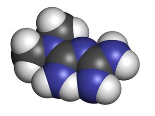 Metformin diabetes drug (biguanide class), chemical structure.