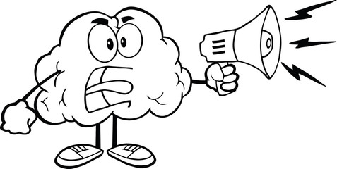 Outlined Angry Brain Cartoon Character Screaming Into Megaphone