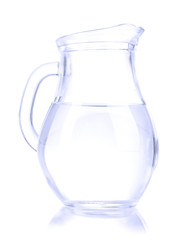 Glass pitcher of water isolated on white