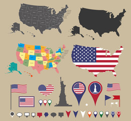 United States map set and national symbolic with location icons