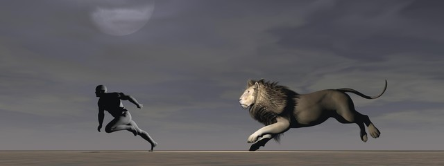 A man and a lion