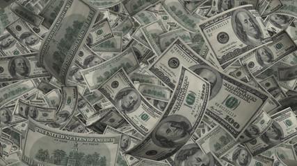 US Dollar Bills, 100 bank notes all around. Visualization