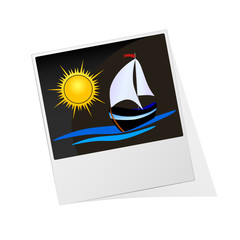 photo frame with sun and boat illustration vector