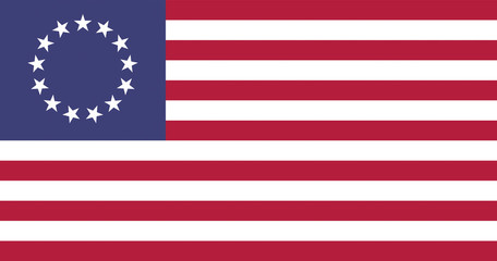 USA Betsy Ross Flat Flag, official colors & aspect ratio