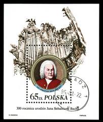 Poland - CIRCA 1985 shows Johann Sebastian Bach and organ