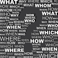Question word background with blank question mark space