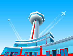 Airport with a control tower and a terminal. Aircraft take off up on the backgroun of blue sky and leave an air jet. The spacious building is made of glass with windows and doors. Vector illustration.