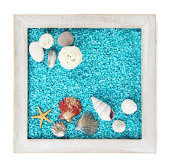 Decorative colored sand with shells isolated on white