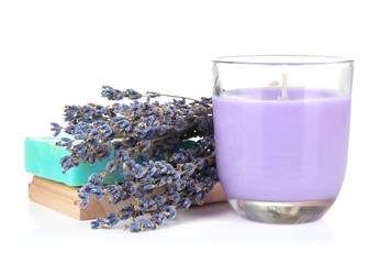 Lavender candle with soap and fresh lavender, isolated on white
