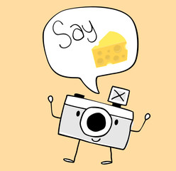 camera cartoon say cheese