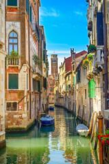 Foto op Plexiglas Venetie Venice cityscape, water canal, church and buildings. Italy