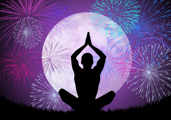 Yoga meditation in the night