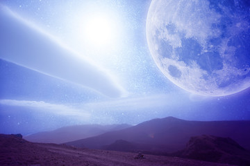 futuristic illustration of open space with moon from earth