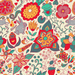 Romantic doodle floral texture. Copy that square to the side and