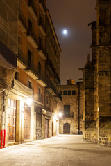 night view of Gothic Quarter near Cathedral
