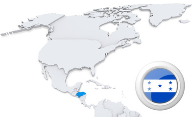 Honduras on a map of North America