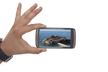 Taking a picture with black smartphone