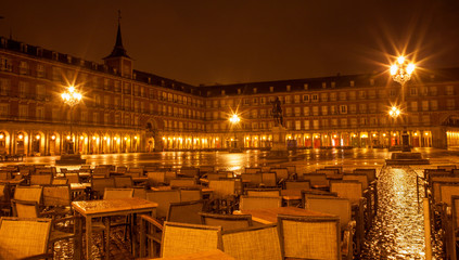 Madrid - Plaza Mayor in rainy morning
