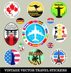 In de dag Doodle Vector images of vintage travel stickers