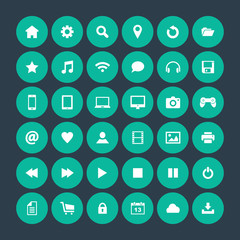 Set of round icons, flat design