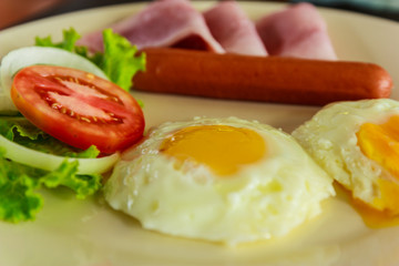 Fired eggs with hotdog