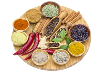 Variety of spices on wooden board