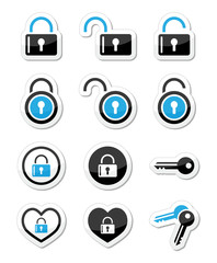 Padlock, key, account vector icons set