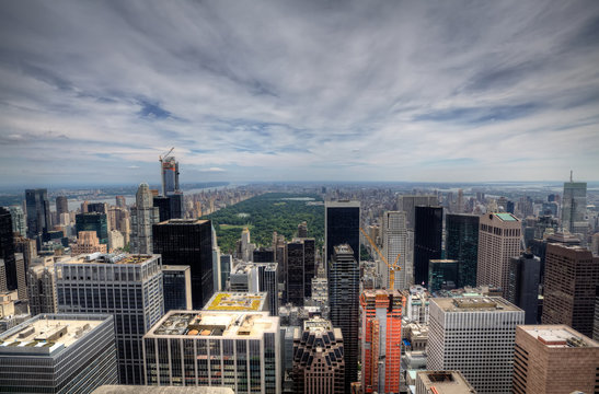 New York City Manhattan midtown aerial panorama view with skyscr