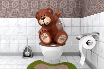 süsser kuscheliger Teddybär hat es geschafft auf Kloschüssel