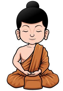 Vector illustration of Buddhist Monk cartoon