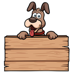 Vector illustration of Cartoon Dog with wooden sign