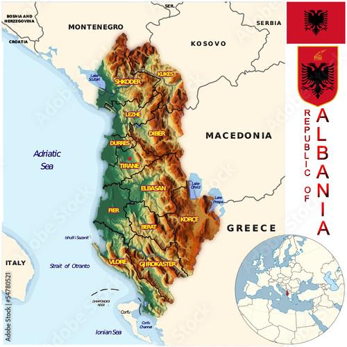 Albania Europe national emblem map symbol location Stock image and