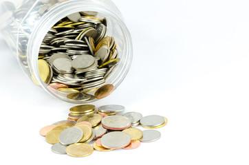 Money jar on white background