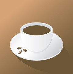 cup of coffee on the brown background, vector
