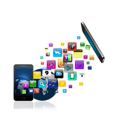 Mobile phone With Colorful application icon, Creative Business
