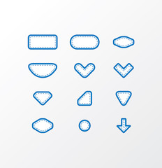 Pack of vector fabric icons. Simple shapes with space for your t