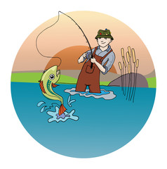 Fisherman catching a fish, vector illustration