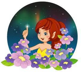 Foto op Aluminium Feeën en elfen A girl and the flowers