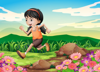 A young girl running hurriedly