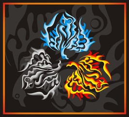 Phoenix concept - fire, water, ashes on a black background