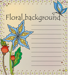 Floral background in caricatured style