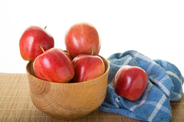 Red Apples in Wood Bowl with Blue Napkin