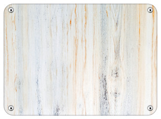 Riveted wood board on white background