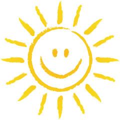 Die Sonne lacht! Handgezeichnete Sonne – Vektor/freigestellt