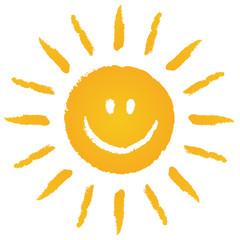 Die Sonne lacht! Locker gezeichnete Sonne – Vektor/freigestellt
