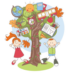 Illustration of a tree with school supplies and playful kids.
